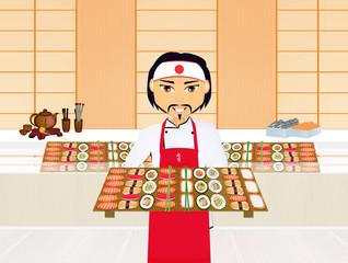 Asian sushi chef