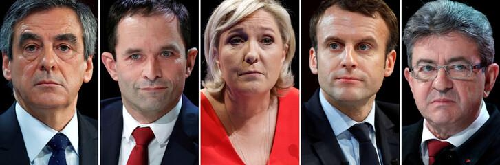 A combination picture shows Francois Fillon, Benoit Hamon, Marine Le Pen, Emmanuel Macron, Jean-Luc Melenchon, candidates for the French 2017 presidential election