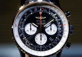 A Breitling Navitimer 01 watch is displayed at the Baselworld watch and jewellery fair in Basel