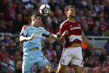 Burnley's Stephen Ward in action with Middlesbrough's Rudy Gestede