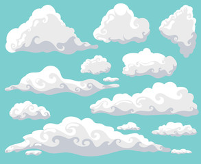 Cartoon Clouds Set On Blue Sky Background. Collection Of Funny Smoke And  Fog Icons,