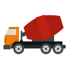 Truck concrete mixer icon isolated
