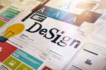 Design concept for different categories of design such as graphic and web design, logo, stationary and product design, company identity, branding, marketing material, mobile app, social media. Wall mural