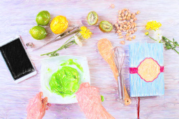 Prepare ingredients for cooking macaroon. View from above. Drawn with pastels