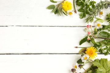 essbare Blüten Blätter Kräuter Wildkräuter Top View Holz Tisch Weiß