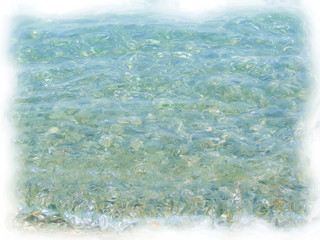 Turquoise sea water with solar glare, oil painting