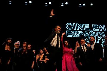 Banderas waves after receiving his Biznaga de Oro Honorifica trophy (Honorary Golden Biznaga) for his lifetime achievement during the 20th Festival de Malaga Cine Espanol in Malaga