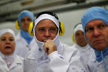 Brazil's Agriculture Minister Blairo Maggi looks on during a technical visit at the Brazilian meatpacker JBS SA in the city of Lapa
