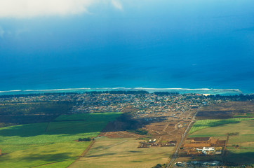 Aerial view of Mauritius from the helicopter