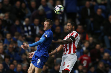 Leicester City's Jamie Vardy in action with Stoke City's Glen Johnson