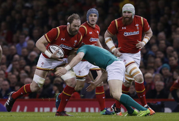Wales' Alun Wyn Jones in action with Ireland's Garry Ringrose