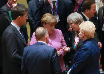 Netherlands PM Mark Rutte, Denmark's PM Lars Lokke Rasmussen, Germany's Chancellor Angela Merkel, British PM Theresa May and Lithuania's President Dalia Grybauskaite attend a meeting during a European Union summit in Brussels