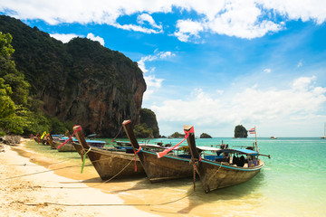 Long tail boat tropical beach, Krabi, Thailand