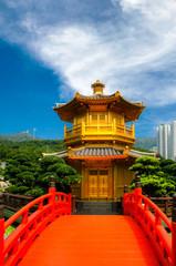 Front View The Golden Pavilion Temple in Nan Lian Garden, Hong Kong