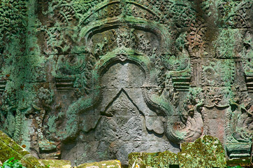Ta Prohm temple beautiful ancient bas-relief in Angkor, Siem Reap, Cambodia.