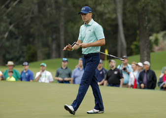 Jordan Spieth of the U.S. practices for the 2017 Masters at Augusta National Golf Club in Augusta