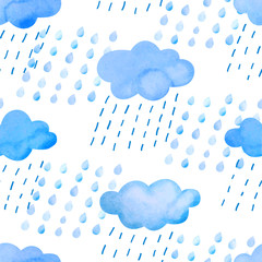 Seamless pattern with watercolor clouds and rain