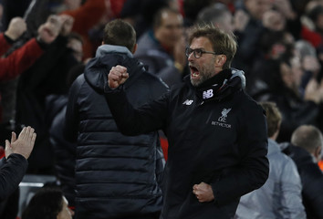 Liverpool manager Juergen Klopp celebrates their second goal