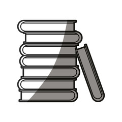 pile books encyclopedia learn shadow line vector illustration