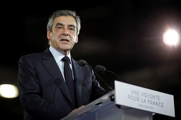 Francois Fillon, 2017 French presidential election conservative candidate, attends a political rally in Paris