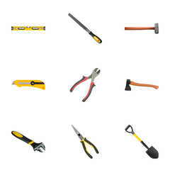 Realistic Sharpener, Plumb Ruler, Handle Hit Vector Elements. Set Of Tools Realistic Symbols Also Includes Construction, Forceps, Knife Objects.