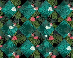 Exotic seamless pattern with tropical leaves. White and coral flowers.