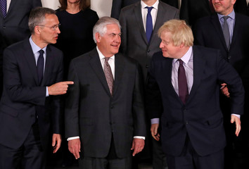 NATO Secretary General Stoltenberg, U.S. Secretary of State Tillerson and British Foreign Secretary Johnson take part in a meeting of NATO foreign ministers at the Alliance's headquarters in Brussels