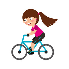 Little girl riding bicycle vector illustration design