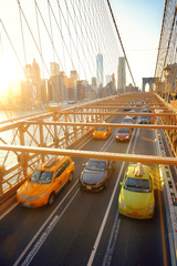Wall Mural - Brooklyn Bridge with traffic at sunset