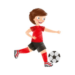 little boy playing soccer vector illustration design