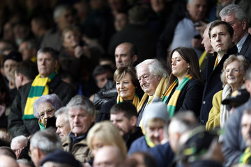 Norwich joint majority shareholders Delia Smith and Michael Wynn Jones in the stands
