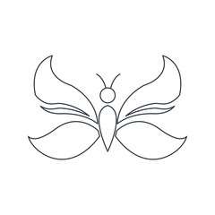outlined butterfly decoration animal natural vector illustration