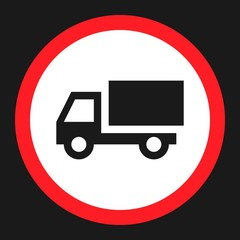 No truck prohibited flat icon, Traffic and road sign, vector graphics, a solid pattern on a black background, eps 10.