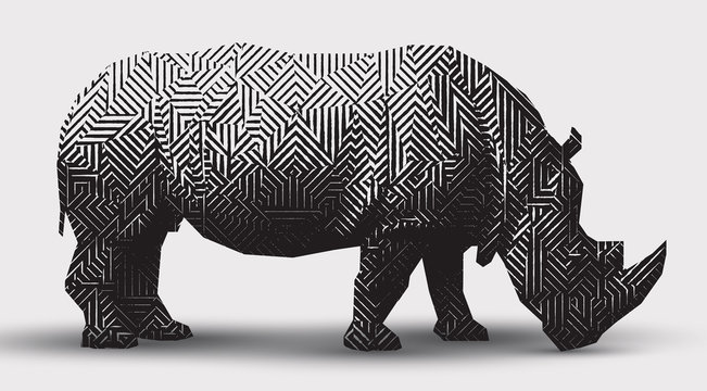 Vector rhinoceros illustration black and white illustration. Polygonal  line- art.