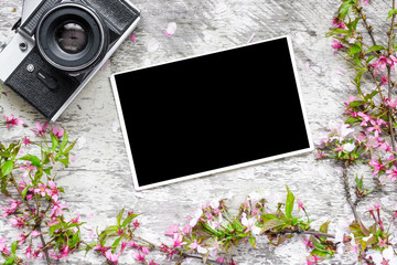 vintage retro camera and blank photo in a frame from spring flowers