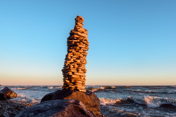 High stack of stones