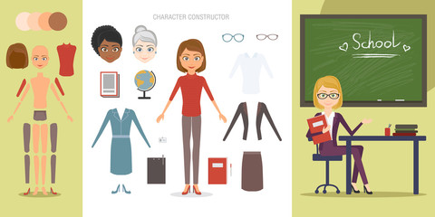 Teacher character constructor set. Cartoon vector flat style infographic illustration. A woman working as a pedagogue of different age and race, variations clothes and items needed in the profession.