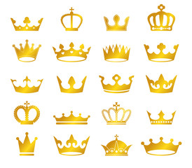 vector set of retro golden crowns on black background