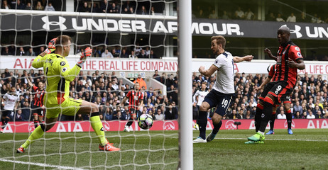 Tottenham's Harry Kane shoots at goal