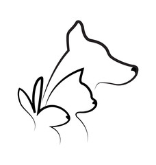 Vector - Cat dog and rabbit silhouettes logo