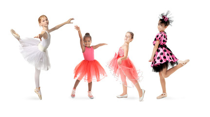 Dance concept. Little girls on white background