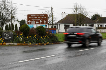 A welcome sign is seen at the entrance to the city of Tuam