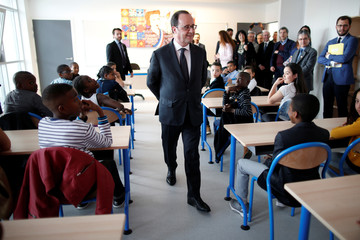 French President Francois Hollande vists the Anatole France school at Sarcelles