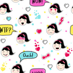 Emoji seamless pattern in anime style with cute girls. Kawaii patch badges. Tillable background for fabric, textile, wrapping or wallpaper. Stickers with manga emoji girls. Different faces and hairs.