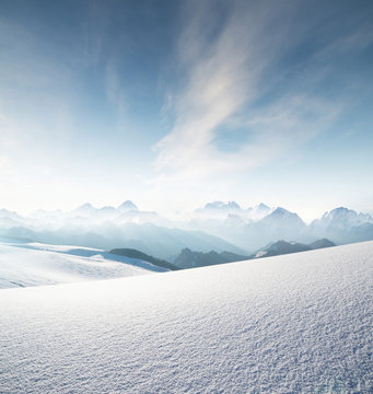 High mountain range in morning time. Beautiful natural landscape