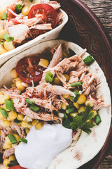Slow cooker chicken taco with corn