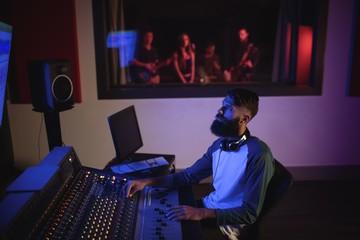Music composer recording music