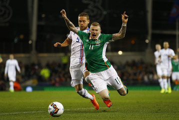 Republic of Ireland's James McClean in action with Iceland's Sverrir Ingason