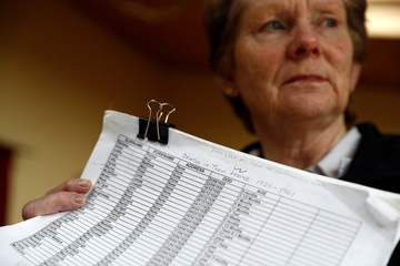 Historian Catherine Corless holds a list of the names of missing children from the mother-and-baby home that was run by the Bon Secours nuns, at her home, in Tuam