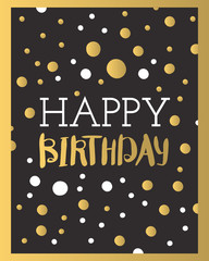 Beautiful birthday invitation card design gold and black colors vector greeting decoration.